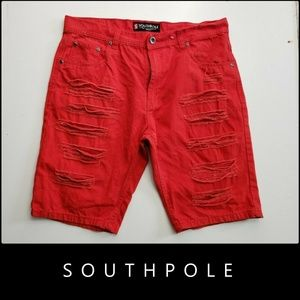 Southpole Men Distress Denim Short Red Size 36